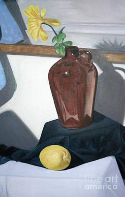 Painting - Vase With Flower And Lemon Still by Mukta Gupta