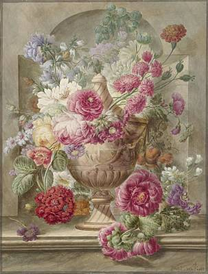 Drawing - Vase With Flowers by Pieter Van Loo