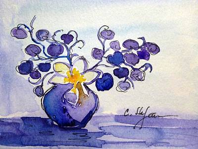 Painting - Vase With Flowers Purple Blue Yellow by Cristina Stefan