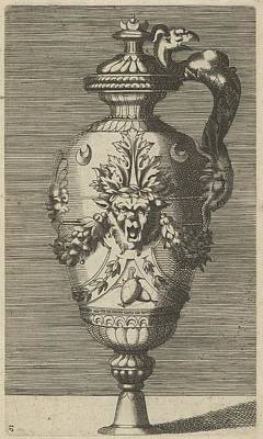 Caravaggio Drawing - Vase With Lid, Decorated With A Mask by Frederick de Wit