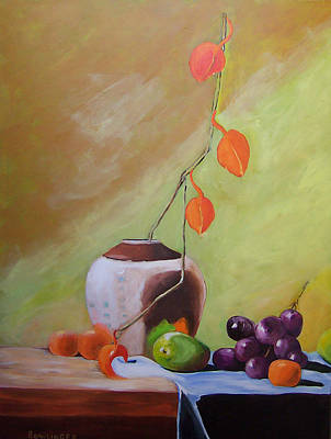 Purple Grapes Digital Art - Vase With Orange Leaves And Fruit by Scott Bowlinger