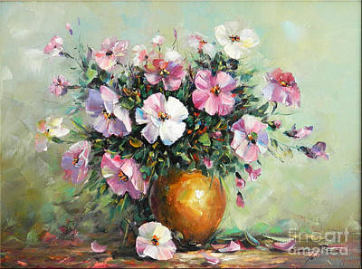 Denisa Laura Painting - Vase With Petunias by Petrica Sincu