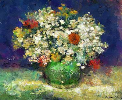 Provence Painting - Vase With Zinnias After Van Gogh by Dragica  Micki Fortuna