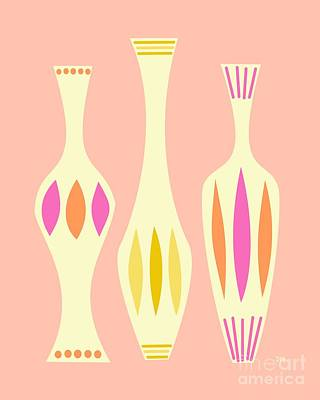 Vases On Pink Art Print by Donna Mibus