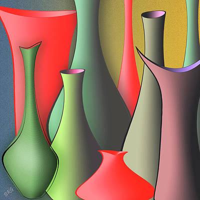 Gold And Gray Digital Art - Vases Still Life by Ben and Raisa Gertsberg