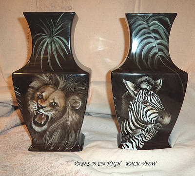 Glass Art - Vases With Animals Back Side by Patricia Rachidi