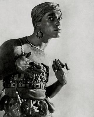 Photograph - Vaslav Nijinsky In Costume by Adolphe De Meyer