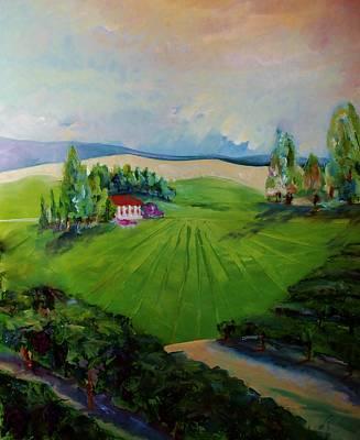 Vast Vineyard Landscape  Art Print by Jan Moore