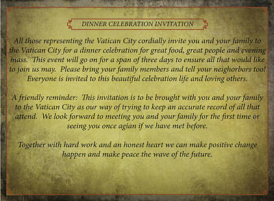 Digital Art - Vatican City Dinner Invitation by Teri Schuster