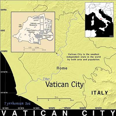Mixed Media - Vatican City Exotic Map by Florene Welebny