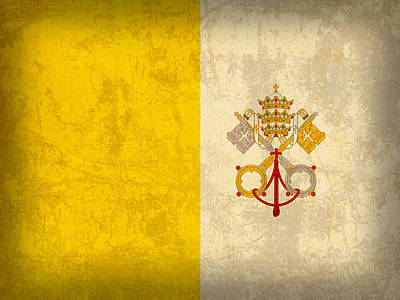 Flag Mixed Media - Vatican City Flag Vintage Distressed Finish by Design Turnpike