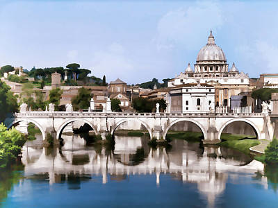 Vatican City Seen From Tiber River In Rome Italy Art Print by Elaine Plesser