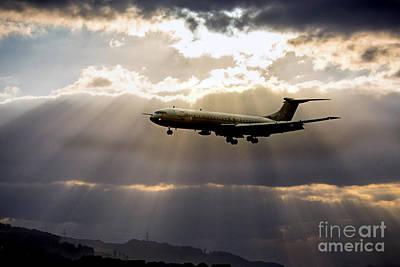Sun Rays Digital Art - Vc-10 Arrival  by J Biggadike