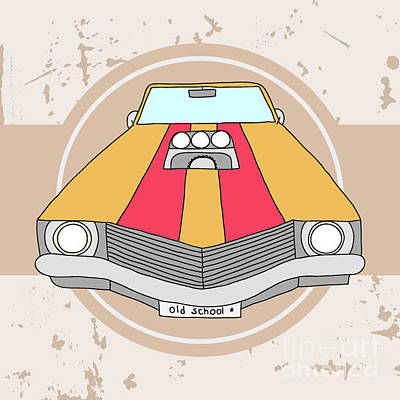 Digital Art - Vector American Muscle Car. Retro Car by Ronaleksandra
