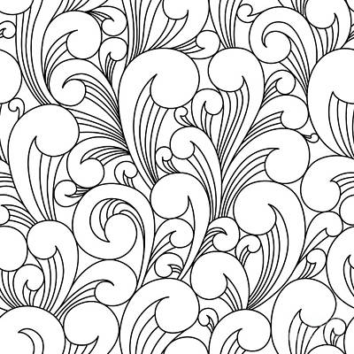 Waves Digital Art - Vector Black And White Pattern With by Maria galybina