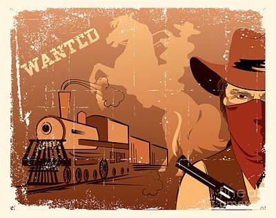 Guns Wall Art - Photograph - Vector Cowboy And Train. Western Grunge by Tancha