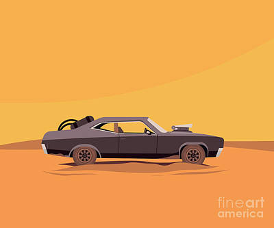 Rusty Cars Wall Art - Digital Art - Vector Flat Illustration Of A Vehicle by Supercaps