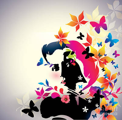 Beautiful Woman Wall Art - Digital Art - Vector Floral Girl by Alessandram