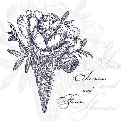 Engraving Wall Art - Digital Art - Vector Flowers In Waffle Cone. Bouquet by Innakote