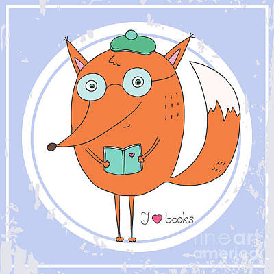 Digital Art - Vector Hand Drawn Fox With Book by Ronaleksandra