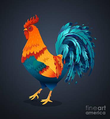 Chicken Digital Art - Vector Illustration Bright Rooster On A by Fay Francevna