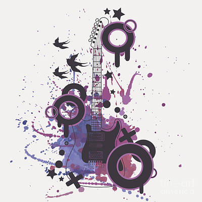 String Instrument Wall Art - Digital Art - Vector Illustration Of Electric Guitar by Eireen Z