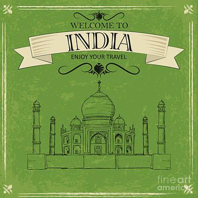 Marbles Wall Art - Digital Art - Vector Illustration Of Taj Mahal Of by Stockshoppe
