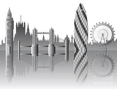 London Skyline Royalty-Free and Rights-Managed Images - vector London skyline by Michal Boubin
