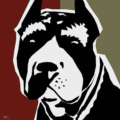 Pitbull Digital Art - Vector Pit  by Mark Ashkenazi