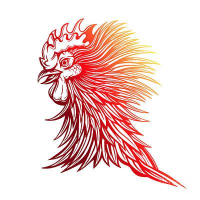 Chicken Digital Art - Vector Red Rooster Head Illustration by Julia Waller