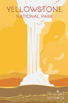Yellowstone Wall Art - Digital Art - Vector Retro Poster. Yellowstone by Red Monkey