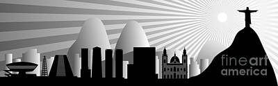 Jesus Christ Digital Art - vector Rio de Janeiro skyline by Michal Boubin