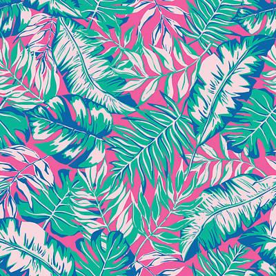 Digital Art - Vector Seamless Bright Tropical by Katyagrib