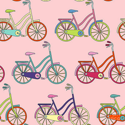 Pattern Digital Art - Vector Seamless Pattern With Bicycle by Maria galybina