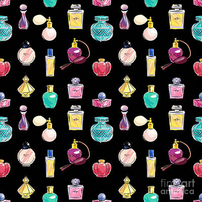 Accessories Wall Art - Digital Art - Vector Seamless Perfume Pattern by Nina susik