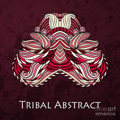 Red Digital Art - Vector Tribal Abstract Element For by Kakapo Studio