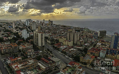 Vedado Havana City Sunset Art Print