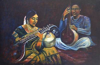Indian Musical Instrument Painting - Veena Tamboora by Usha Shantharam