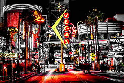 Red Photograph - Vegas Nights by Az Jackson
