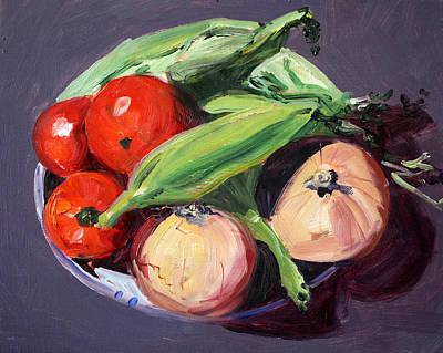 Corn Painting - Vegetable Bowl by Nancy Merkle