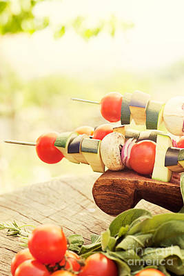 Vegetable Kebab Print by Mythja  Photography