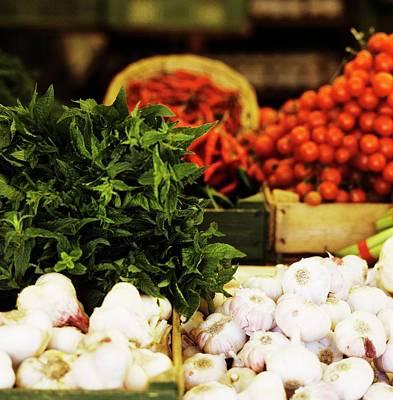 Vegetable Market: Garlic, Herbs, Chilis And Tomatoes Art Print