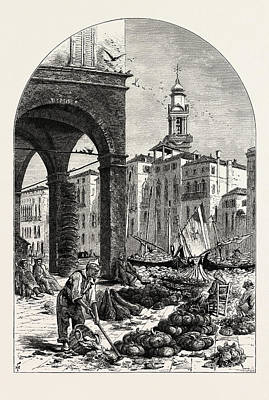 Vegetable Market Drawing - Vegetable Market On The Grand Canal, Near The Rialto by Italian School