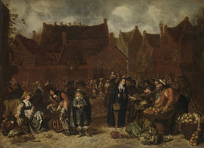 Vegetable Market Drawing - Vegetable Market, Sybrand Van Beest by Litz Collection