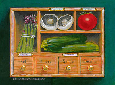 Zucchinis Photograph - Vegetable Shelf by Brian James