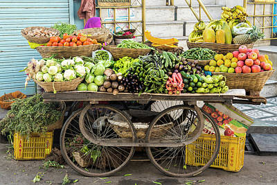 Photograph - Vegetable Trolley, Udaipur, Rajasthan by John Harper