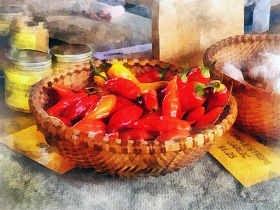 Peppers Photograph - Vegetables - Hot Peppers In Farmers Market by Susan Savad