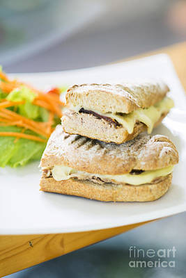 Food And Flowers Still Life - Vegetarian Tuna And Cheese Toasted Baguette Sandwich by JM Travel Photography