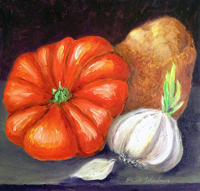 Tomatoe Wall Art - Painting - Veggie Trio by Portraits By NC