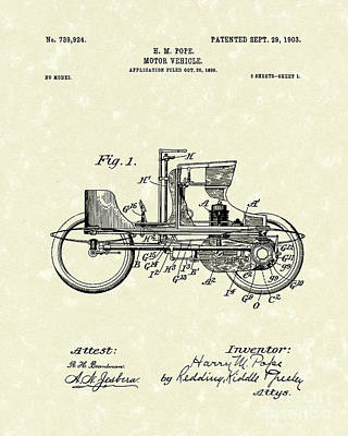 Drawing - Vehicle 1903 Patent Art by Prior Art Design